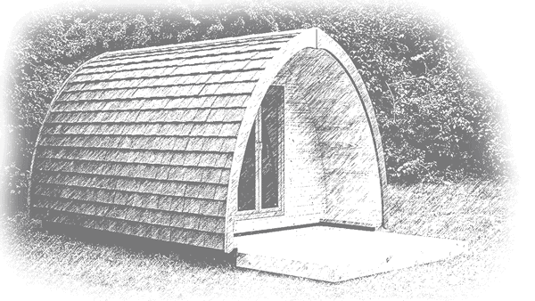 drawing of a glamping pod