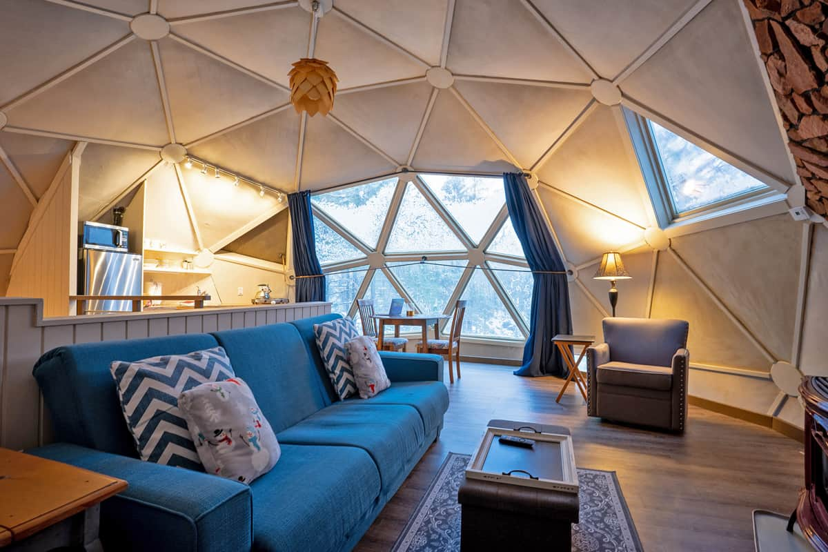 Geodesic Dome Interior Glamping in Oregon