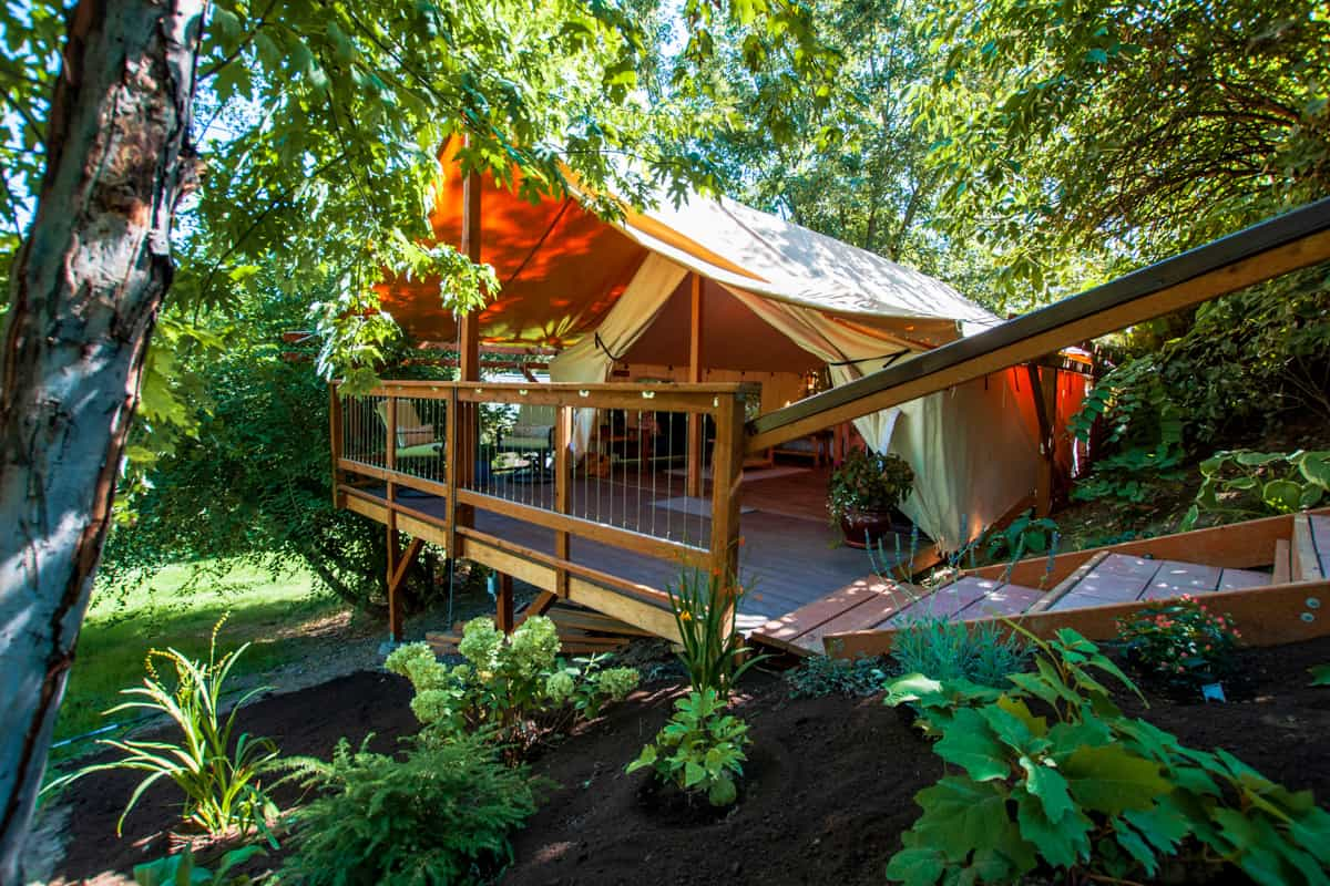Hideaway Glamping Tent in the woodsrees