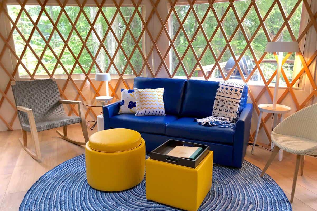 Interior of a glamping yurt in Washington