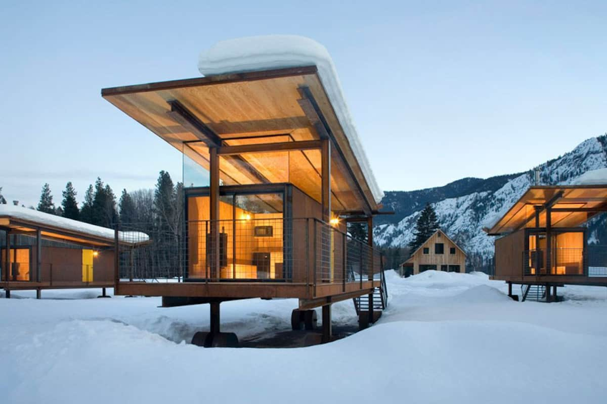 Rolling Huts in the snow