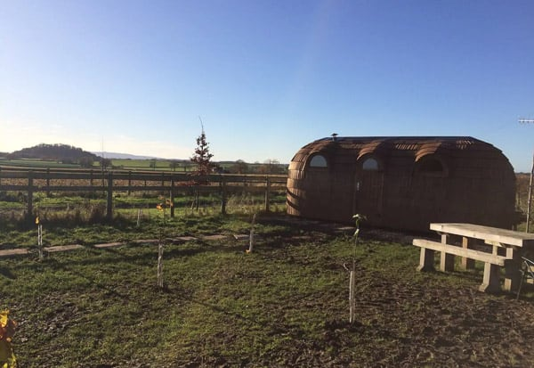 iglu glamping hut view from outside with grass, table and blue sky