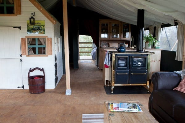inside view of a glamping tent