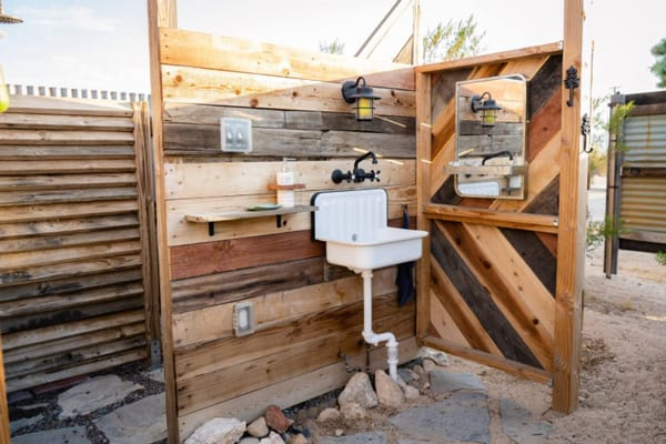 Joshua Tree Glamping Hangout view of Sower area with sink