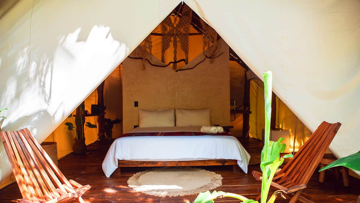Glamping tent in Tulum Mexico