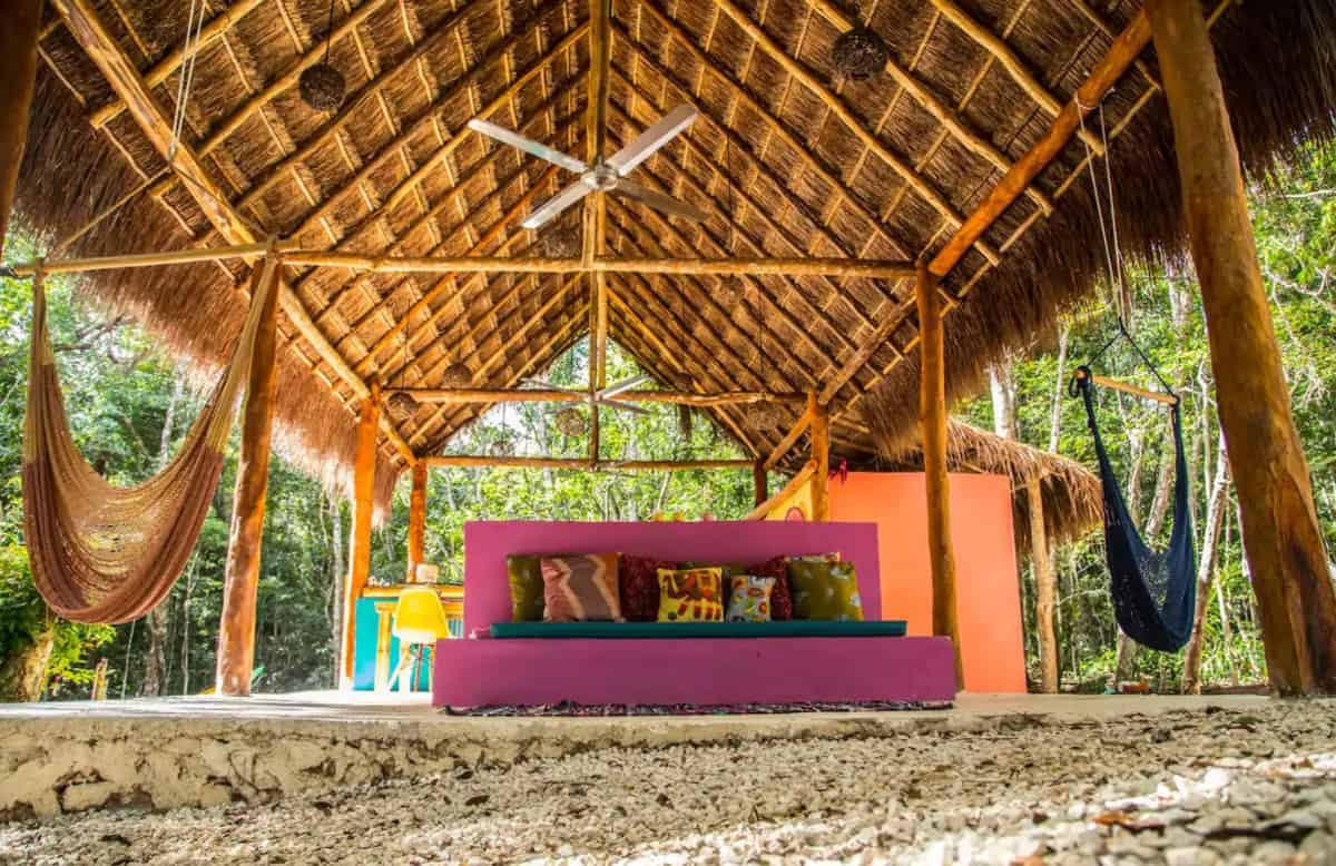 Open air loung on beach in Tulum Glamping