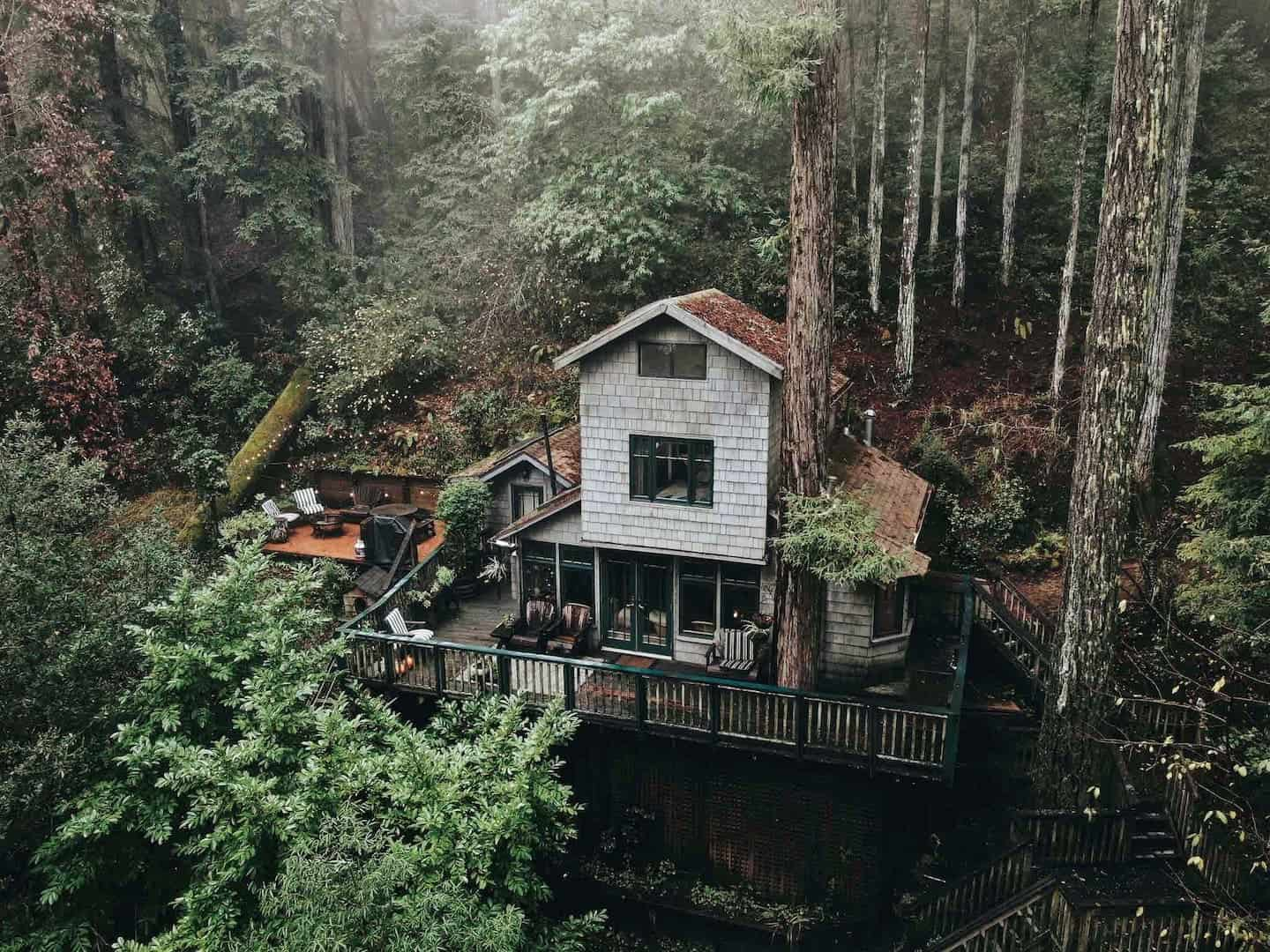 Bay Area glamping treehouse view of the Crows Nest Treehouse