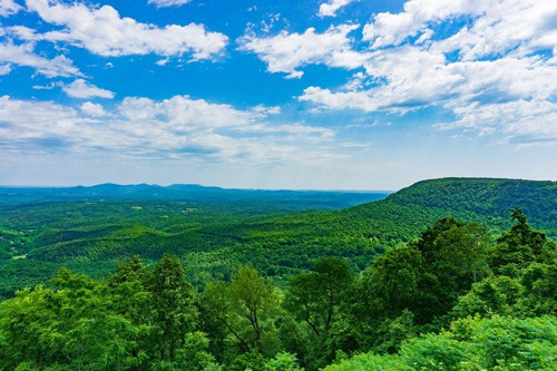 Arkansas Ozarks glamping view from above and green forests below
