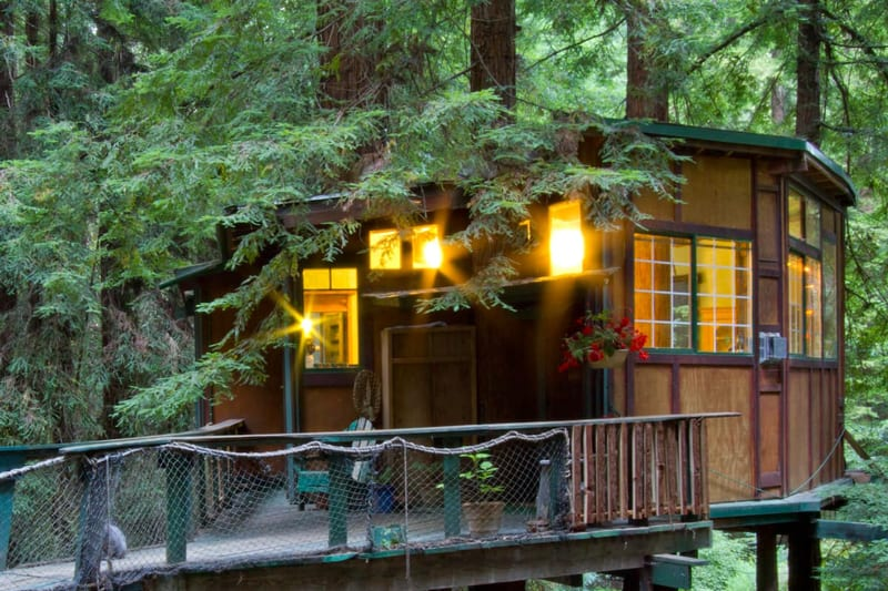 redwood treehouse glamping in bay area view of the treehouse with lights on and the bridge to the treehouse