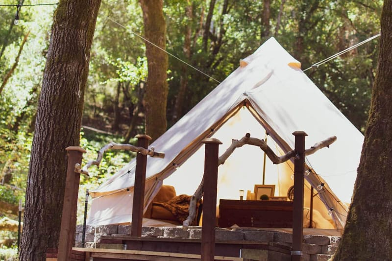 Soquel glamping tent Bay Area view of front of tent with wooden stairs and tree around it