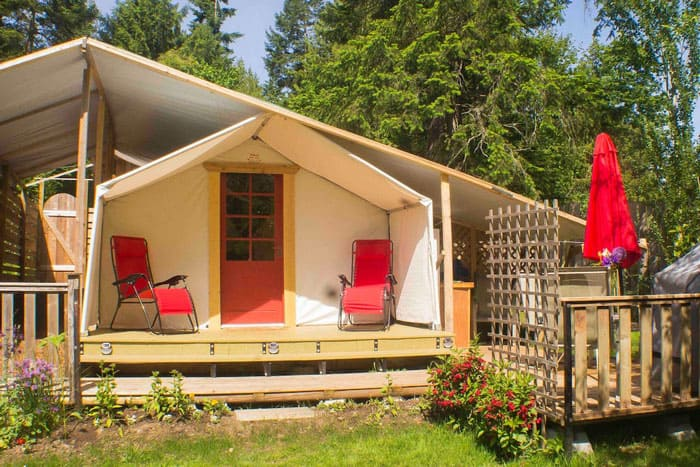 Camping Salt Spring Island at Gallery Glamp view of the tent with porch and covered area over tent