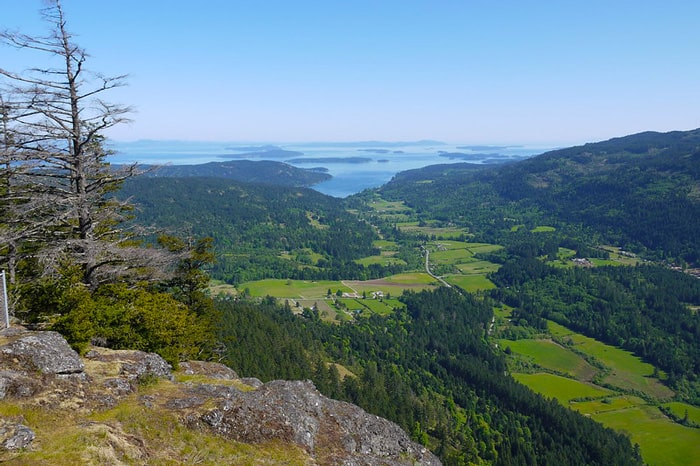 hiking on salt spring island view from a rock with the green valley and gulf islands in the background