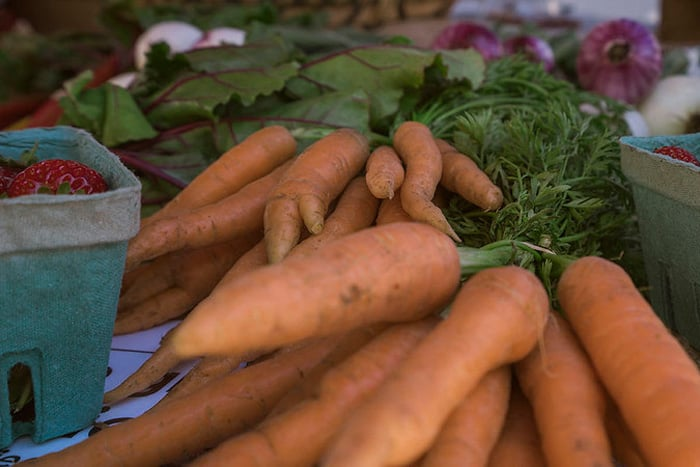 Salt Spring Island Farmers Market close up picture of fresh carrots and berries