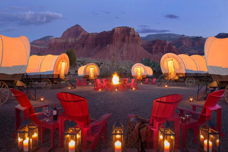 Capitol Reef Glamping Resort covered wagons
