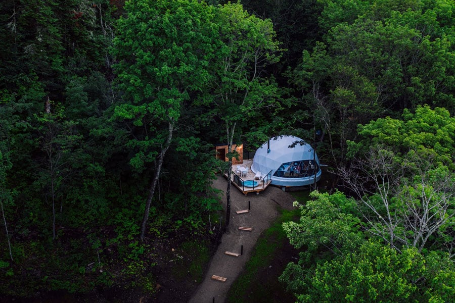 Dômes Charlevoix Eco Camping and Glamping in Canada view from above